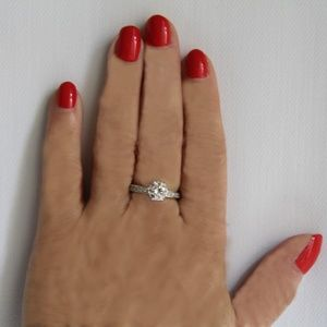 2.43 carat cz  Solid  Silver Ring